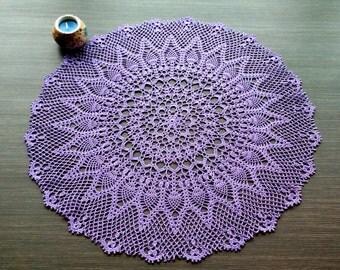 Purple Round Pineapple Crochet Doily/Purple Round Crochet Doily With Pineappe Design/Lavender Round Pineapple Doily With Edging