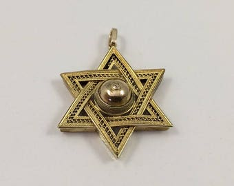 Victorian 15Kt Yellow Gold British Filigree Star of David Pendant Circa 1890