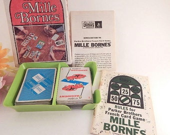 Mille Bornes French Card Game Vintage 1971 Parker Brothers Car Race Family Fun Complete Game Set Mod Lime Green Card Holder Stocking Stuffer