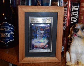 FREE SHIPPING Rare Beckett graded baseball card holder size deep profile frame solid cedar wood oak finish country rustic display