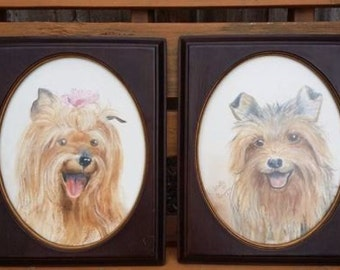 two vintage pastel paintings of a YORKSHIRE TERRIER wood frame