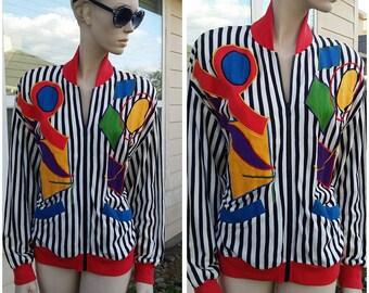 Vintage women's 80s colorful light jacket