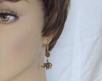 Elephant, golden, dangle, earrings, burgundy beads, B, Jewelry
