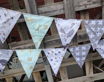 Bunting, flags, garland or banner - gold and white, black and white, clouds, mint green, butterflies, grey and white arrows