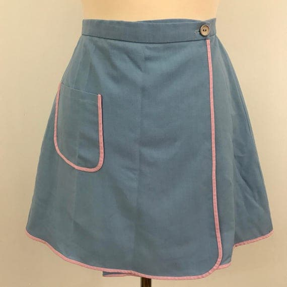 "Vintage tennis skirt wrap mini skirt Mod sports 26"" waist small baby blue 1970s vintage sportswear blue and pink cute kawaii cosplay"