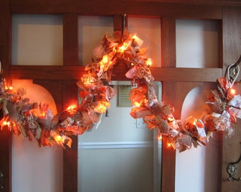 Lighted Fall Rag Garland Thanksgiving Decor Autumn Prim Decoration