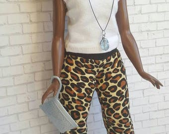 Animal print pants for curvy fashionista doll