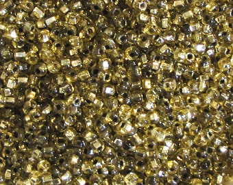 25 g Czech vintage seed beads seed beads transparent gold lined 9/0