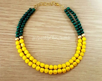 Yellow and Green Color Block Statement Necklace