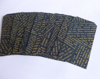 Handmade screen printed paper tags gold on black