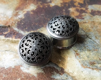 Ornate Domed Charcoal Plugs, gauges  9/16, 3/4 7/8