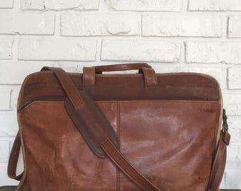 Vintage Distressed Leather Briefcase/Messenger Bag