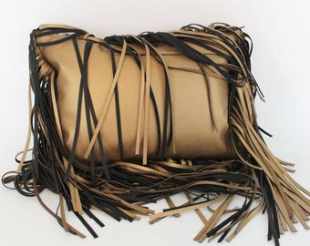 """faux leather gold fringe throw pillow - gold faux leather fringe 12x16"""" pillow"""
