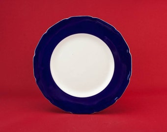 Charming Vintage Medium Royal Doulton PLATE Cheese Dinner Blue Pottery Gift Art Deco Serving Dining English 1920s LS