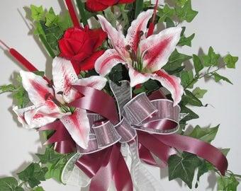 Urn Vase w/ Pic Cemetery Grave Flowers Easter Mothers Day Rubrum Lilies Ivy Roses Memorial Sympathy Silk Flowers Custom Orders Welcome