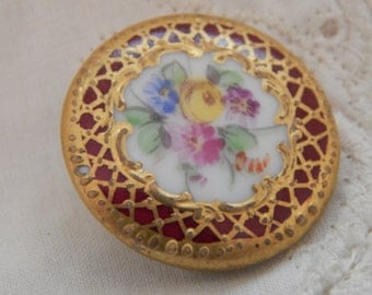 Dresden Look Porcelain Button with Spring Flowers in the Center