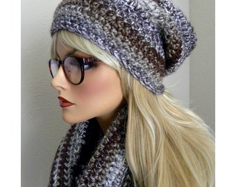 Hat & Scarf Set, Winter Hat Set, Long Scarf, Striped Scarf, Slouchy hat, Wool Blend, Accessory, Gift for Women