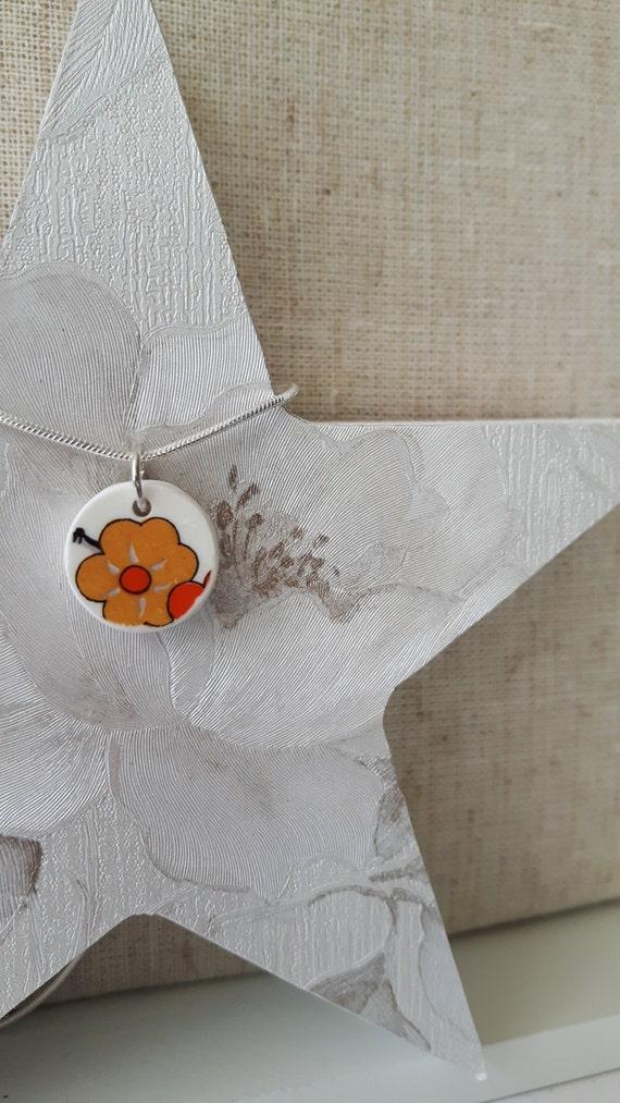 Broken china vintage porcelain pendant.  Silver snake chain.  China shard pendant  Unusual pendant.  Floral pendant.  Handmade in Wales UK.