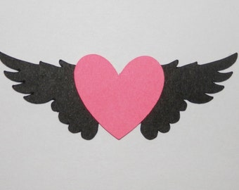 Heart Winged Die Cut,Confetti  25 pieces - You Choose Colors