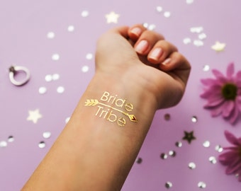 Bride Tribe Gold Metallic Temporary Tattoo   Bachelorette Party Favors   Bridesmaid Wedding Tattoo   Flash Tattoo   Hen Bridal Party Gift