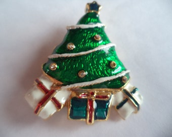 Vintage Unsigned  Small Green  Christmas Tree with Present and AB Stones Brooch/Pin