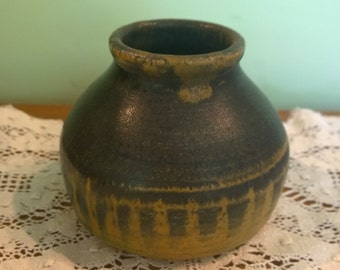 Studio pottery vase blue and yellow pot marked EH