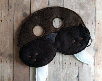 Walrus Felt Mask in 2 Sizes, Elastic Back, Brown, Black and White Acrylic Felt with Embroidery, Halloween Mask, Kids Costume, Photo Booth