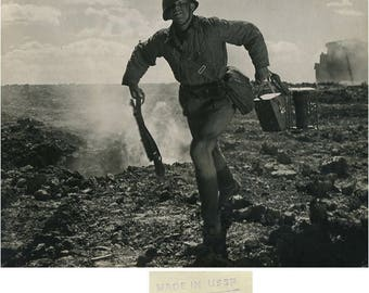Russian soldier running with rifle WWII art photo