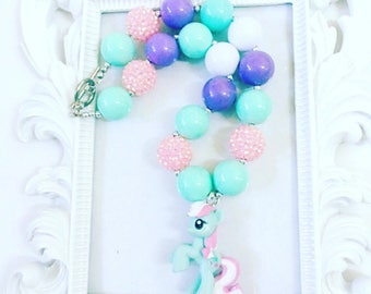 Mint Green and Pink Pony Chunky Necklace, Little Pony Mint Green Gumball Necklace, Gumball Character Necklace, Kid's Character Jewelry