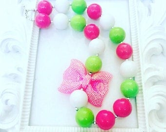 Pink Green And White Chunky Necklace, Multi-Colored Beaded Necklace, Girl's Costume Necklace,Toddlers Custom Jewelry, Kid's Custom Jewelry