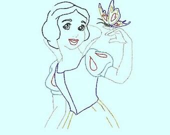 Vintage Snow White Princess Quick Stitch Digital Design File Embroidery Machine Bean Hand Stitch Look