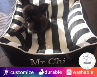 Modern Pet Bed - Dog Bed or Cat Bed | Black & White Stripe Pet Bed | Washable and High Quality