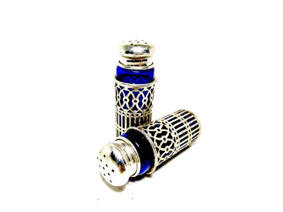 Salt and Pepper Shakers, Cobalt Blue Glass with Silver Plate Filigree Covers, Art Deco Elegance