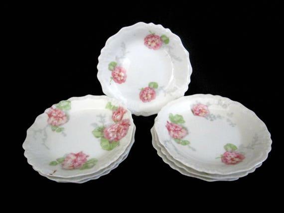 Antique Limoges Butter Pats, Jean Pouyat, JPL Limoges, Pink Carnations, Pink Floral Limoges, 4 Avail