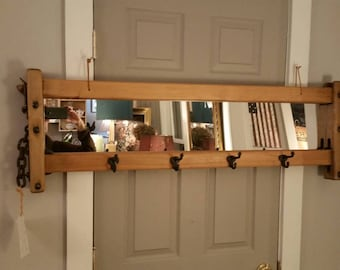 Rustic antique cow stanchion mirror or Vermont roofing slate chalkboard or antique barn board from a maple sugar house coat rack.