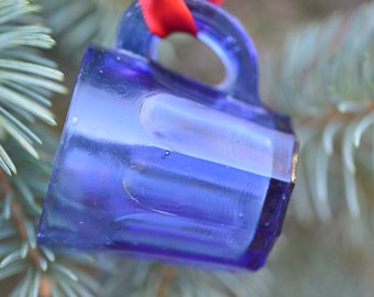 Vintage Cobalt Blue Glass Cup Ornament Arched Panels