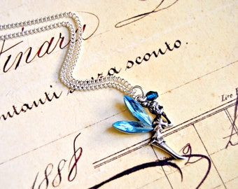 Blue fairy pendant necklace - tinkerbell necklace, fairy inspired necklace, fantasy necklace, fairytale necklace