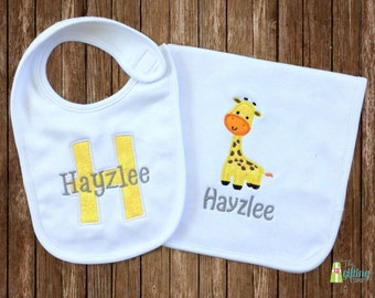 Monogrammed Baby Bib & Burp Cloth Set, Personalized Baby Bib and Burp Cloth, Appliqué Bib and Burp Cloth, Baby Shower Gift Set