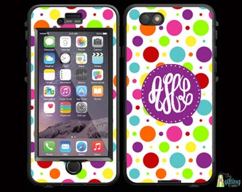 Monogrammed Lifeproof® Phone Case Decal, Personalized Skin, iPhone 7/7 Plus, 6/6S and 6/6S Plus, 5/5S/SE/5C, Galaxy S7/S6/S5/S4/S3, Gumballs