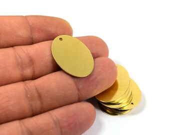 100 Pcs. Raw Brass 16x21.5 mm Oval 1 Hole Stamping Blanks Tag