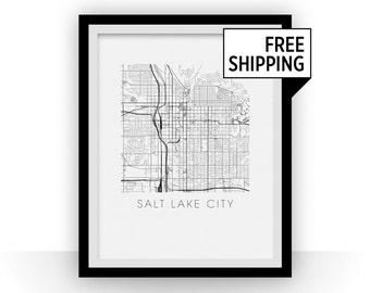Salt Lake City Map Black and White Print - utah Black and White Map Print