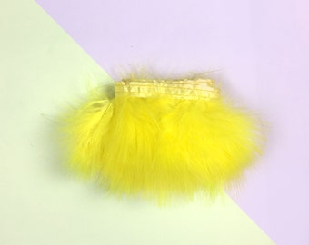 Yellow Ribbon with fluffy feathers / from 30 cm