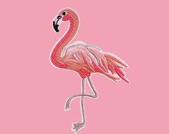 Ironfix embrodery patch big flamingo