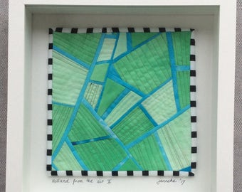 Holland from the air II , Quilted Art, quilted wall hanging, home decor, fabric wall art, modern art quilt