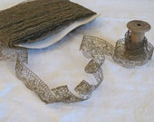 antique gold lace trim meterage - new old stock from a French textile mill