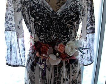 Vintage Boho dress Shabby chic Gypsy soul Romantic bohemian style french cottage Gypsy spell Mori girl Country shabby dress