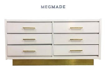 White & Gold Base Dresser by Lane | 1022-02562