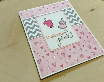 Baby Girl Card, Tickle Me Pink, Baby Announcement, Baby Shower Card, Polka Dot Card