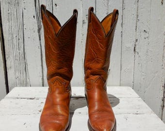 Vintage COWBOY Boots/Womens Cowboy Boots/Cowgirl Boots/TONY LAMA/Tall Boots/Womens Western Boots/Tan Leather Boots/Vintage Boots/Womens 8