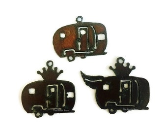 AIRSTREAM TRAILER CAMPERS with Crown Wings (any 2) Charms Penant Cutouts made of Rustic Rusty Rusted Recycled Metal